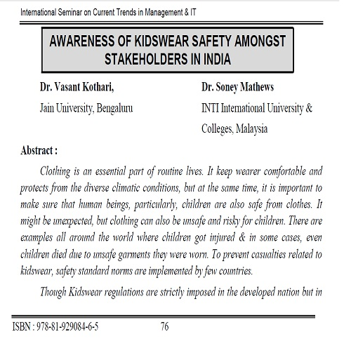AwarenessofKidswearSafetyamongstStakeholdersinIndia