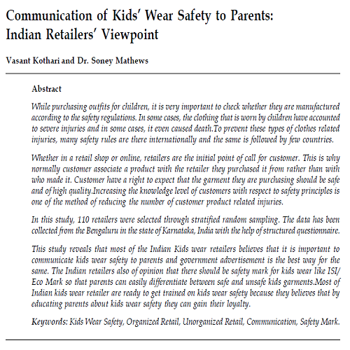 CommunicationofKidsWearSafetytoParents